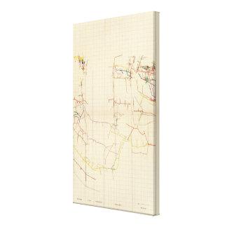 Mapas de mina de Comstock número V Lona Envuelta Para Galerías
