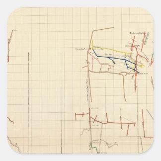 Mapas de mina de Comstock número V Pegatina Cuadrada