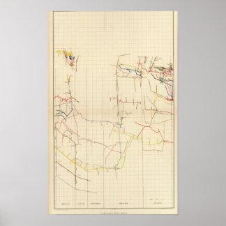 Mapas de mina de Comstock número V Póster