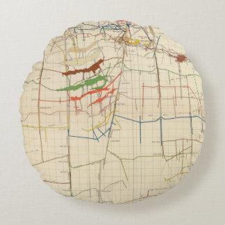 Mapas de mina de Comstock número VI Cojín Redondo
