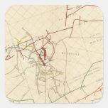 Mapas de mina de Comstock número VIII Pegatina Cuadrada