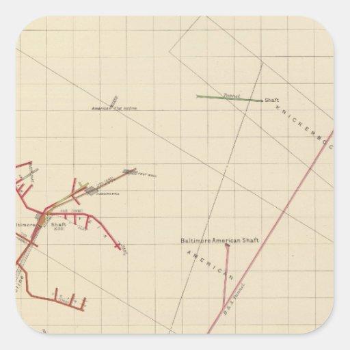 Mapas de mina de Comstock número VIX Pegatina Cuadradas Personalizadas