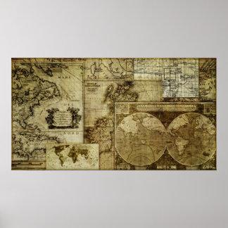 Mapas de Viejo Mundo del vintage Póster