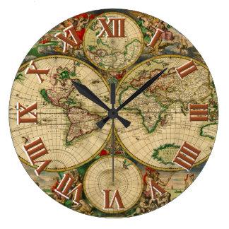 Mapas de Viejo Mundo del vintage Reloj De Pared
