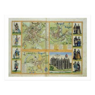 Mapas de York, de Shrewsbury, de Lancaster, y de R Postales
