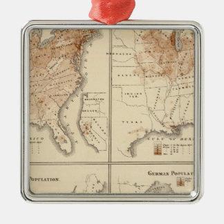 Mapas del censo de Estados Unidos, 1870 Adorno Navideño Cuadrado De Metal