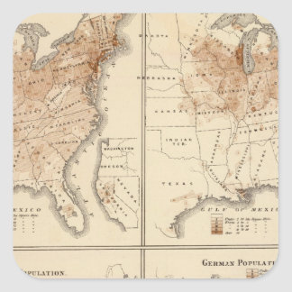 Mapas del censo de Estados Unidos, 1870 Pegatina Cuadrada