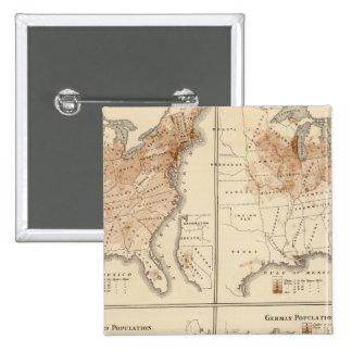 Mapas del censo de Estados Unidos, 1870 Pin Cuadrado