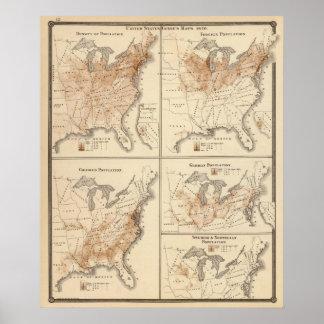 Mapas del censo de Estados Unidos, 1870 Póster