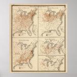 Mapas del censo de Estados Unidos, 1870 Posters