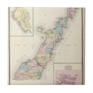 Mapas del condado de Door, bahía del esturión y de Azulejo Cuadrado Pequeño