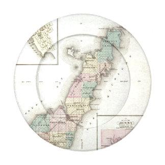 Mapas del condado de Door, bahía del esturión y de