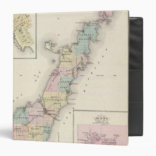 """Mapas del condado de Door, bahía del esturión y de Carpeta 1 1/2"""""""