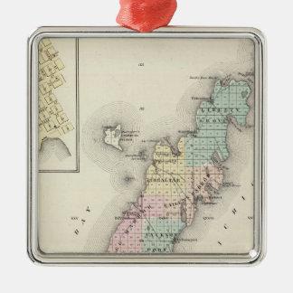 Mapas del condado de Door, bahía del esturión y de Adorno De Navidad