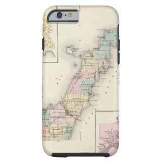 Mapas del condado de Door, bahía del esturión y de Funda Para iPhone 6 Tough