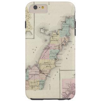 Mapas del condado de Door, bahía del esturión y de Funda De iPhone 6 Plus Tough