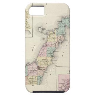 Mapas del condado de Door, bahía del esturión y de iPhone 5 Case-Mate Cobertura