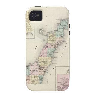 Mapas del condado de Door, bahía del esturión y de iPhone 4 Funda