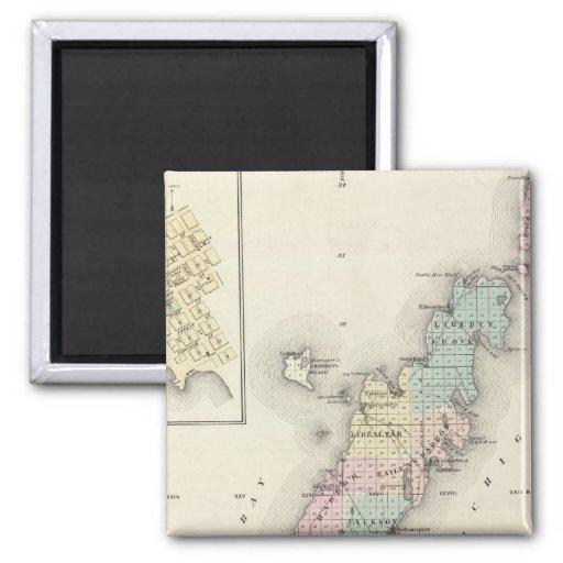 Mapas del condado de Door, bahía del esturión y de Imán Cuadrado