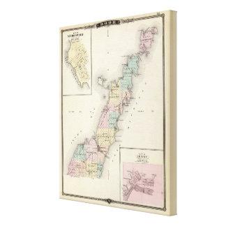 Mapas del condado de Door, bahía del esturión y de Impresión De Lienzo