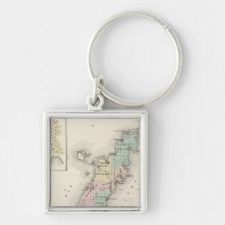 Mapas del condado de Door, bahía del esturión y de Llavero Cuadrado Plateado