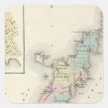 Mapas del condado de Door, bahía del esturión y de Calcomanias Cuadradas