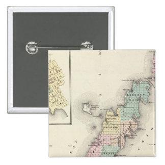 Mapas del condado de Door, bahía del esturión y de Pin Cuadrado