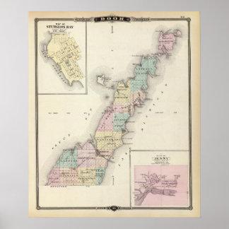 Mapas del condado de Door, bahía del esturión y de Póster