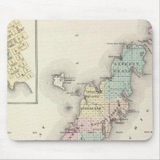 Mapas del condado de Door, bahía del esturión y de Tapete De Ratón