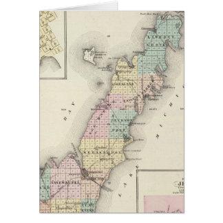 Mapas del condado de Door, bahía del esturión y de Tarjetón