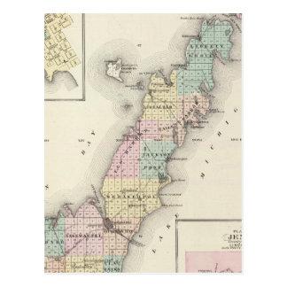 Mapas del condado de Door, bahía del esturión y de Tarjeta Postal