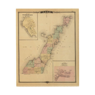 Mapas del condado de Door, bahía del esturión y de Impresiones En Madera
