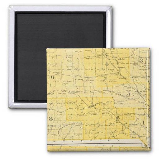 Mapas del estado de Iowa Imán Cuadrado