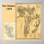 Mapas del Hudson del puerto Poster