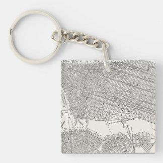 Mapas del mapa NYC de New York City Brooklyn de lo Llavero Cuadrado Acrílico A Una Cara