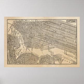 Mapas del mapa NYC de New York City Brooklyn de lo Póster