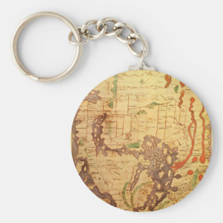 Mapas del mundo antiguos llavero redondo tipo pin