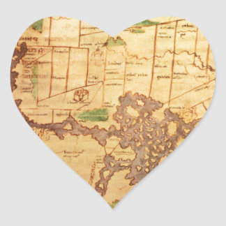 Mapas del mundo antiguos pegatina en forma de corazón