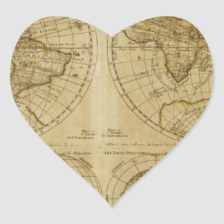 Mapas del mundo de Hictoric - mapas de Viejo Mundo Pegatina En Forma De Corazón