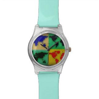 mapas del mundo del color relojes de pulsera