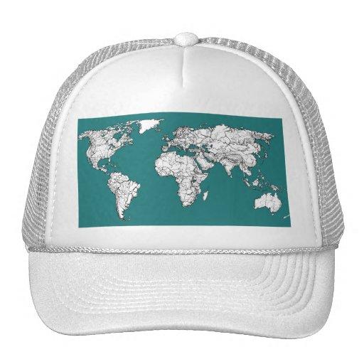 Mapas del mundo en turquesa gorra
