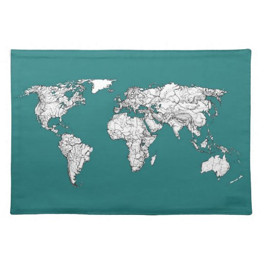 Mapas del mundo en turquesa mantel individual