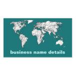 Mapas del mundo en turquesa plantilla de tarjeta personal