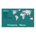 Mapas del mundo en turquesa plantillas de tarjetas personales