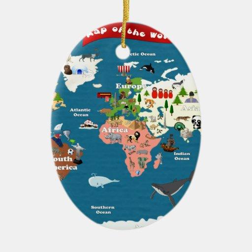 Mapas del mundo para los niños adorno navideño ovalado de cerámica