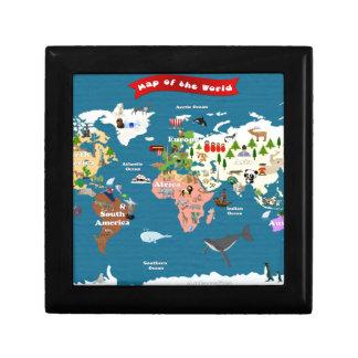 Mapas del mundo para los niños cajas de recuerdo