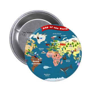 Mapas del mundo para los niños pin redondo de 2 pulgadas