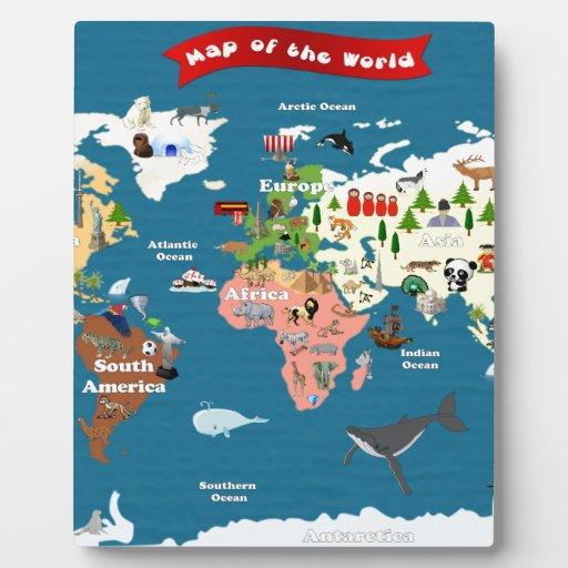Mapas del mundo para los niños placas de madera