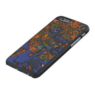 Mapas enrrollados NUEVA YORK Funda De iPhone 6 Carved® Slim De Arce