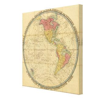 Mapas geográficos del pasatiempo del caminante impresión en tela